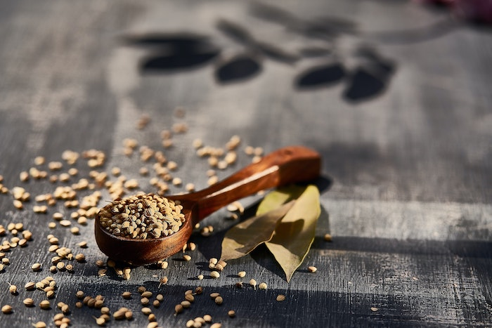 a spoon of coriander with spilled seeds nearby on a black background