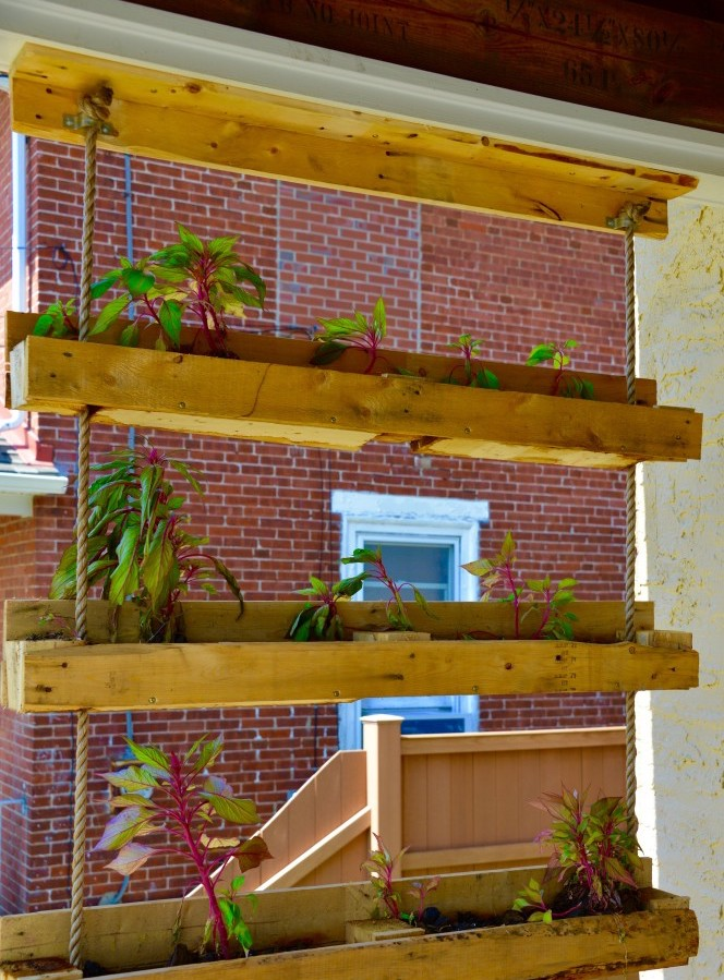 hanging garden shelves from recycled wooden pallet