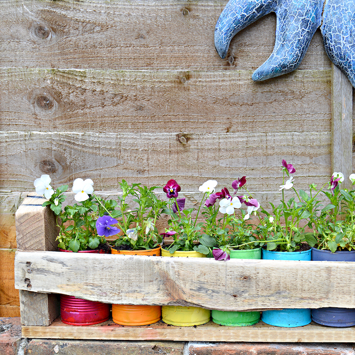 picture of flowers in brightly colored tin cans on a rustic wood pallet shelf