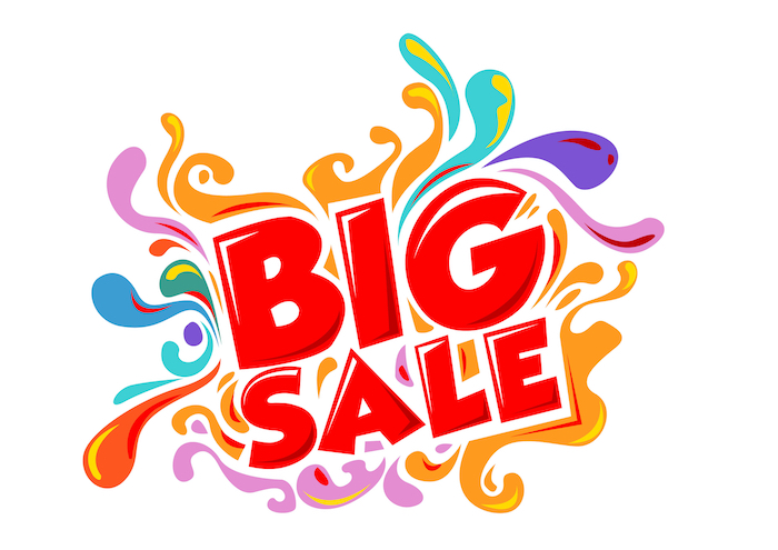 multi-colored Big Sale sign that might get somebody a super deal on a large planter that needs filling